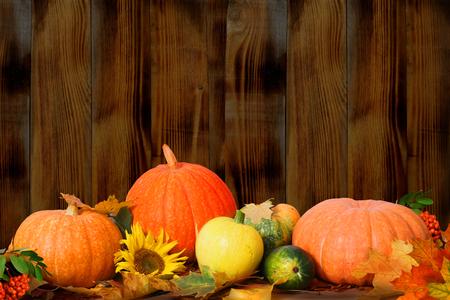 accion de gracias: Oto�o de fondo con hojas de arce y calabazas en mesa de madera