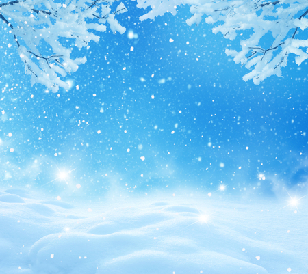 fresh snow: winter christmas background Stock Photo