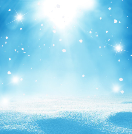 冬の雪とクリスマスの背景 写真素材