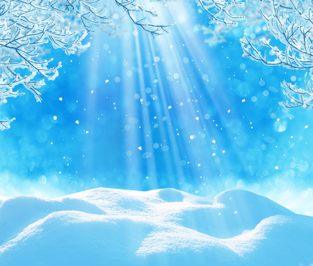 sunrise mountain: winter christmas background Stock Photo