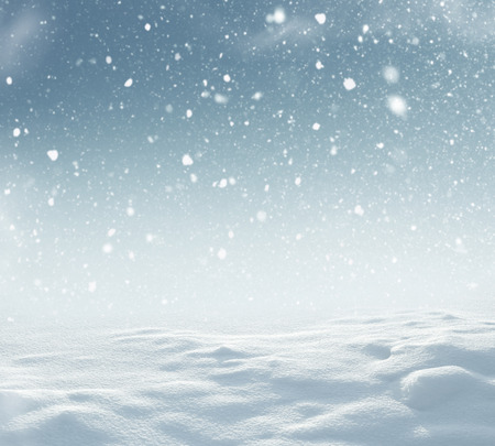 Winter christmas landscape with falling snow