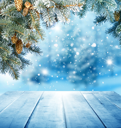 christmas background with wooden table Banque d'images