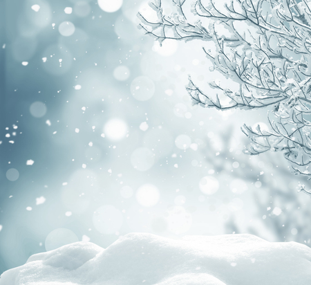 montañas nevadas: invierno de fondo de Navidad