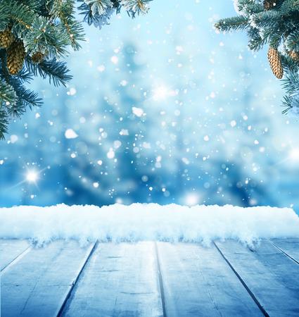 Kerst achtergrond met houten planken