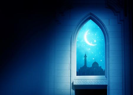 Ramadan Kareem background.Mosque window with shiny crescent moon