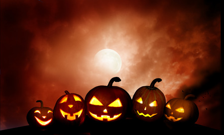 Scary  pumpkins jack-o-lantern in the night  .Halloween background Stock Photo