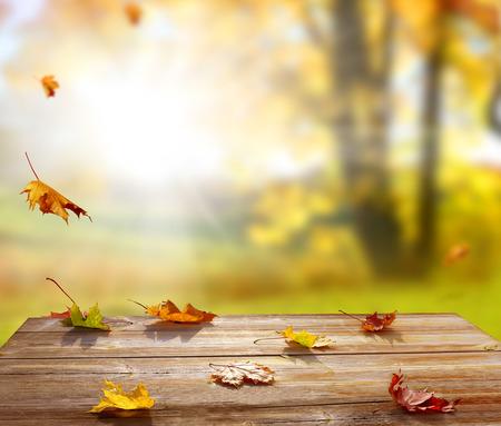 木製のテーブルにカラフルなカエデを葉します。落下葉の自然な背景。秋のシーズンのコンセプト