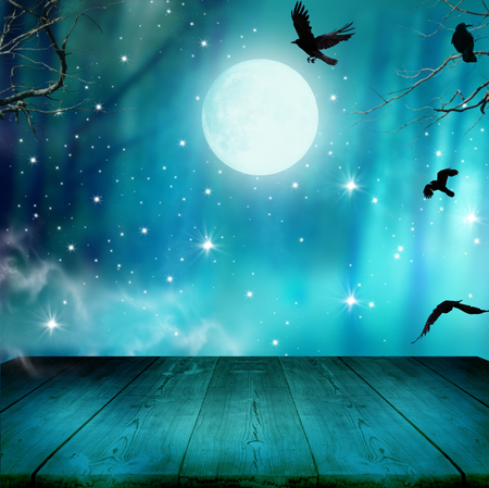 Halloween background .Night forest with full moon and wooden table