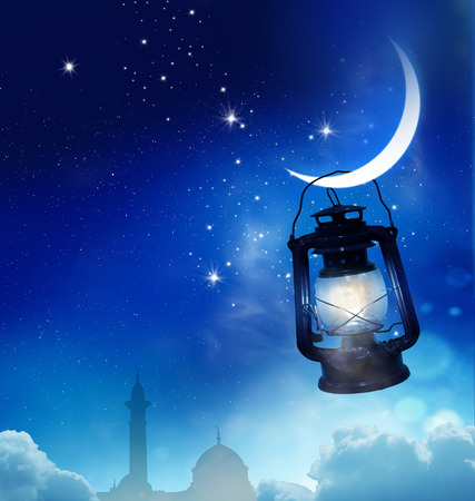Ramadan Kareem background.Crescent Moon and Lantern Lightning in sky