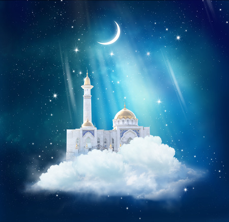 Ramadan Kareem background with mosque in sky