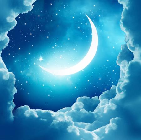 Ramadan Kareem background.Crescent Moon and clouds