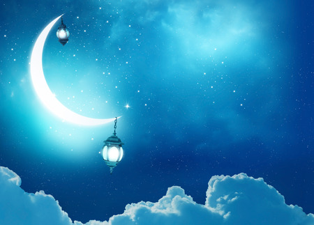 Islamic greeting  Eid Mubarak cards for Muslim Holidays.Eid-Ul-Adha festival celebration . Ramadan Kareem background.Crescent Moon and Lantern Lightning in sky