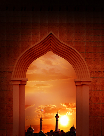 crescent: Ramadan Kareem background.Mosque arch