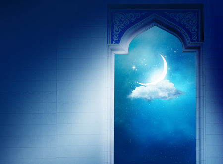 pattern: Ramadan Kareem background with  mosque arch.