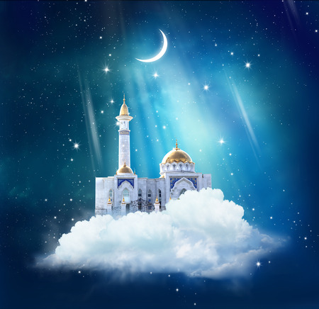 ramzan: Ramadan Kareem background with mosque in sky
