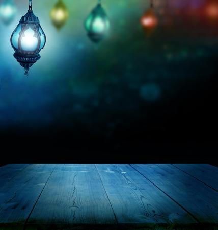 ramzan: Ramadan Kareem background.Ramadan lantern and wooden  table