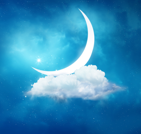Ramadan Kareem background.Crescent moon and cloud