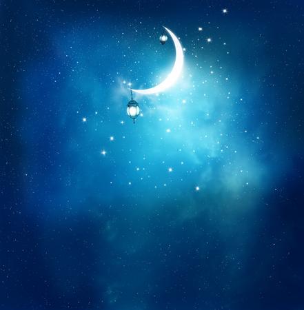 Islamitische begroeting Eid Mubarak kaarten voor de Moslim feestdagen. Eid-Ul-Adha festival viering. Ramadan Kareem background.Crescent Moon and Lantern Lightning in de lucht Stockfoto
