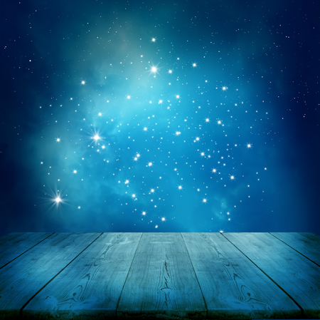 dirty: Ramadan Kareem background.Stars background  with wooden table