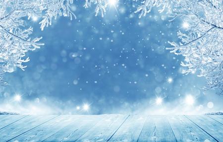메리 크리스마스와 행복 한 새 해 인사말 배경 테이블입니다.