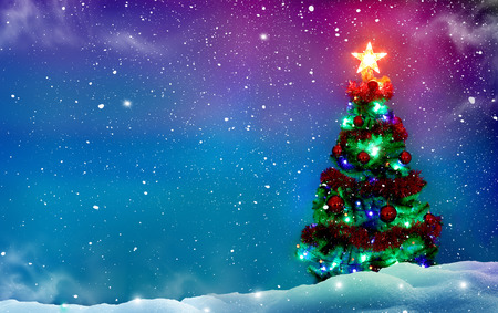 Christmas tree with decorations. Winter background.Merry Christmas and happy New Year greeting card with copy-space. Stock Photo