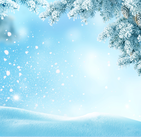 snowdrifts: Winter Christmas background with fir tree branch Merry Christmas and happy New Year greeting card with copy-space.Winter landscape with snow  Stock Photo