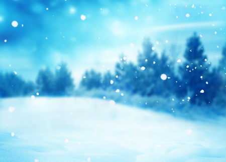 Winter landscape.Merry Christmas and happy New Year greeting card with copy-space.Christmas background