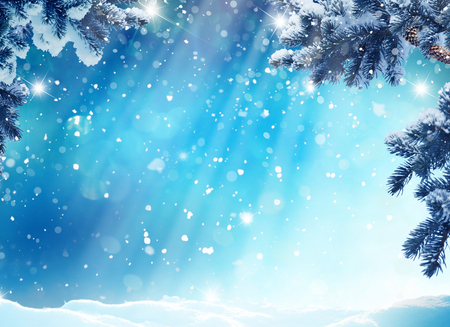 Merry Christmas and happy New Year greeting card with copy-space.Winter landscape with snow and fir trees Stock Photo