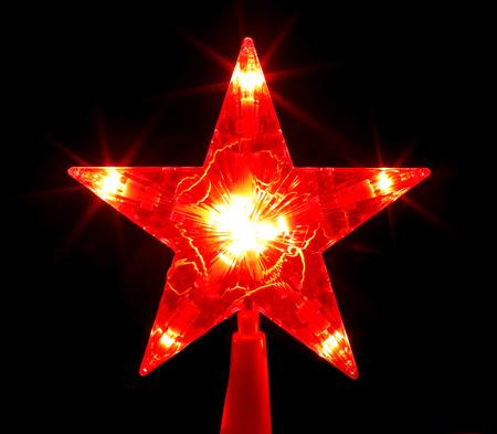 Christmas tree red star light Stock Photo