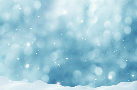 Winter  background with snow and blurred bokeh.Merry Christmas and happy New Year greeting card with copy-space Stock Photo