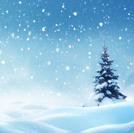 Christmas background with snow.Winter night landscape. Happy new year greeting card with copy-space. Stock Photo