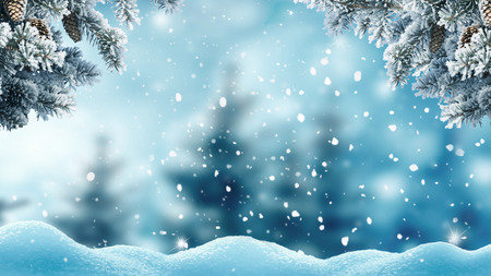 Merry christmas and happy new year greeting background. .Winter landscape with snow and christmas trees