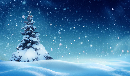 Christmas background with snow.Winter night landscape. Happy new year greeting card with copy-space. Foto de archivo