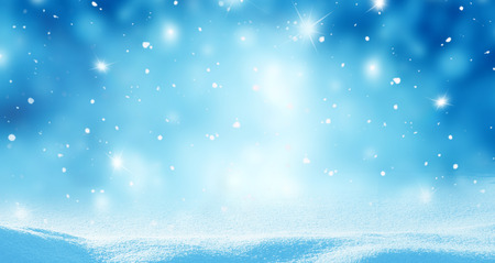 Winter background with snow and blurred bokeh.Merry Christmas and happy New Year greeting card with copy-spac Stock Photo