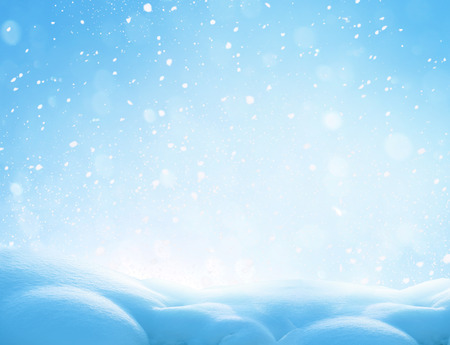 Christmas winter background with snow and blurred bokeh.Merry christmas and happy new year greeting card with copy-space. Stock Photo - 91458797
