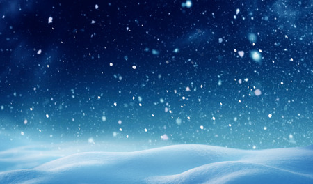 Christmas background with snow.Winter night landscape. Happy new year greeting card with copy-space. Reklamní fotografie