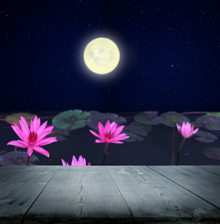 A magical Chinese mid-autumn festival background with table.