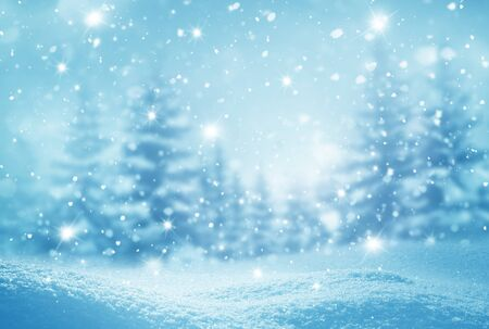 Winter background .Merry Christmas and happy New Year greeting card with copy-space. Christmas landscape with snow and fir trees Stock Photo