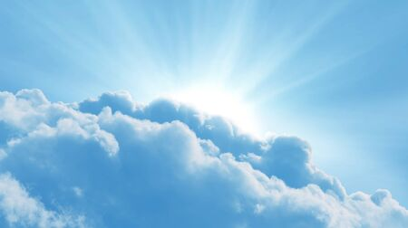 Blue sky with sun and beautiful clouds.Concept religion background