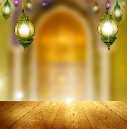 Ramadan Kareem background.Mosque window with lantern lightning and wooden table