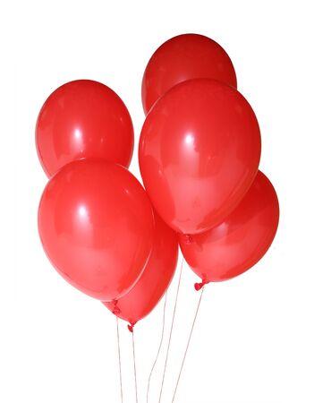 Rote Luftballons isoliert auf weißem Hintergrund