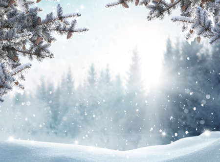 Beautiful winter landscape with snow covered trees.Merry Christmas and happy New Year greeting background with copy-space. Banco de Imagens
