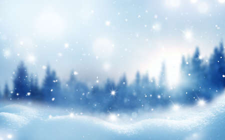 Winter background. New Year greeting card with copy-space. Christmas landscape with snow and fir trees