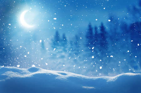Winter background. Merry Christmas and happy New Year greeting card with copy-space. Christmas night landscape with moon and fir trees