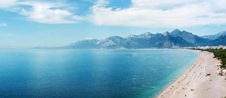 Panoramic view of beach at Antalya, Turkey Stock Photo