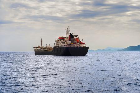 tanker ship: Oil tanker ship in the sea Stock Photo