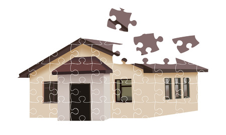 residental: Puzzle building house illustration over white background Illustration