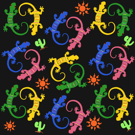 multi color: Seamless pattern with multi color lizards.