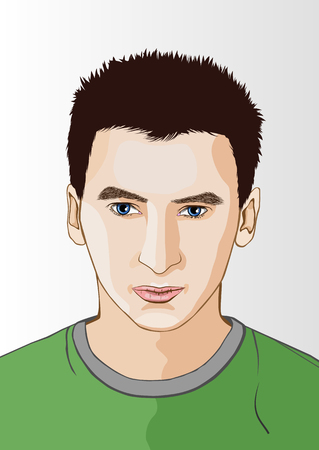 beautiful face: Line art portrait of young man.