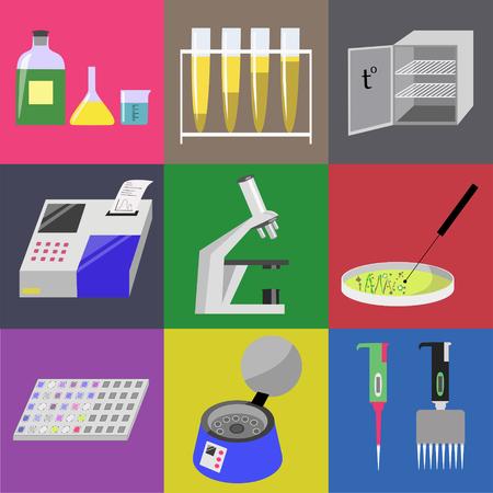 Microbiology laboratory icons set